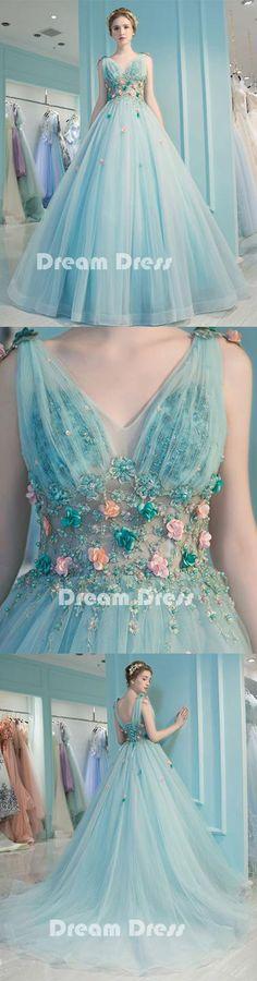 Blue v neck tulle long prom dress, blue evening dresses,PD090009 #fashion #shopping #dresses #eveningdresses #2018prom