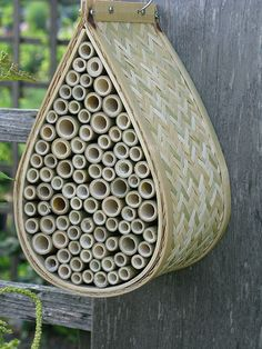 Mason Bee Nesting Box | Even though they don't make make honey, mason bees are important pollinators ... and they don't sting. Nesting boxes like these will help attract them to your garden.
