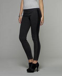 Jessica Simpson: Pleather Inset Jean #black #grey #jegging #legging #stripe #skinny $34.99