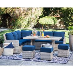Belham Living Brookville 6 Piece All Weather Wicker Sofa Sectional Patio Dining Set   from hayneedle.com