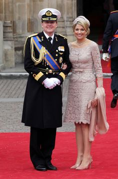 Crown Prince Willem Alexander and Princess Maxima of The Netherlands smile as they arrive to attend the Royal Wedding of Prince William to  Catherine Middleton at Westminster Abbey on April 29, 2011 in London, England.