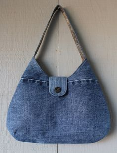 Denim Handbag with Front Magnetic Snap Closure Accented with Button, Back Zipper Pocket and Two Interior Pockets by AllintheJeans on Etsy