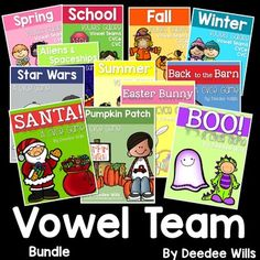 """Vowel Team and CVCe word bundle for a huge savings!    There are 12 in all! This is a predictable game structure.  You just need to teach it once and then your students will be hooked for the entire year!   They love getting the """"special"""" cards.You can use this is small group or part of your literacy stations, literacy centers, or word work.HERE IS WHAT IS INCLUDED:7 CVCe GAMES:Units included:Back to the Barn CVCeStar Wars CVCeBoo CVCeSanta CVCeEaster CVCePumpkin Patch CVCeAliens CVCeEach…"""