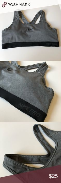 NIKE Grey and Black Logo Padded Sports Bra In great used condition and has removable pads. ALL  OFFERS WELCOMED. ☑️ From a smoke free and pet free home ☑️ your order ships within 24 hours! Make sure to check out my other items for an awesome bundle deal! If additional photos needed, please specify of what and where! TOP RATED SELLER, TOP SHARER, FAST SHIPPER & POSH AMBASSADOR 💃🏽 Nike Intimates & Sleepwear Bras