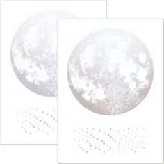 2015 Platinum and Silver on White Moon Phases Calendar 22x30 large screenprint, gold copper print on black, luna lunar wall art, space stars