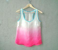 Magenta Pink Ombré Blouse  contrast turquoise trim by MegMilo, $180.00