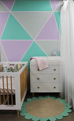 Geometric wall in fresh gender neutral nursery- designed by Bright Kids Interiors