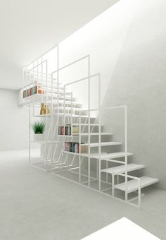 Après une belle installation centrale présentée hier voici un bel escalier design en métal avec un astucieux système de rangement qui fait aussi office de rambarde… C'est malin, minimaliste et très réussi visuellement. Cet escalier a été designé par Amir Zinaburg. Partagez cet article :114 PARTAGES Partager10 Tweet1 Partager1