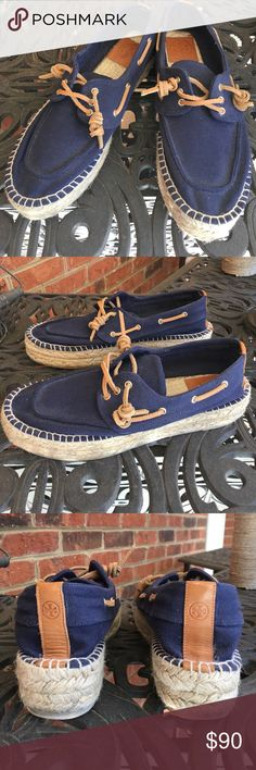 EUC Tory Burch Navy Blue Espadrilles Sneakers - 9 EUC Navy Blue Tory Burch Espadrilles sneakers in a women's size 9.  Probably fit more like an 8-1/2.  I️ wear a 9 and these are a little small on me. Maybe worn once to try on and walk around the house. Tory Burch Shoes Espadrilles