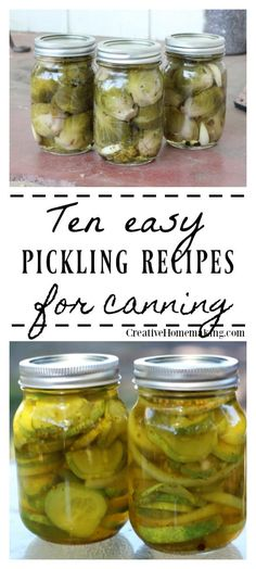 10 Easy Pickling Recipes for Canning - Creative Homemaking - 10 easy pickling recipes for canning. Recipes for refrigerator pickles, pickled beets, pickled aspa - Pickled Brussel Sprouts, Pickled Asparagus, Pickled Garlic, Pickled Beets Recipe, Pressure Canning Recipes, Canning Tips, Pressure Cooking, Fermentation Recipes, Pickled Cherries