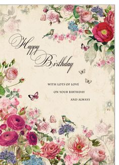 Nina Masha - Classic All Over Florals Happy Birthday Floral, Birthday Wishes Flowers, Beautiful Birthday Wishes, Happy Birthday Wallpaper, Happy Birthday Wishes Cards, Happy Birthday Celebration, Birthday Blessings, Happy Birthday Pictures, Happy Birthday Candles