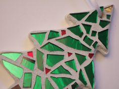 "Please ""LIKE"" The Green Banana Mosaic Company on Facebook:  www.facebook.com/pages/The-Green-Banana-Mosaic-Company/416081381842901  Mosaic Christmas Ornament, Christmas Tree, Green Mirror, Handmade Stained Glass Mosaic Design"