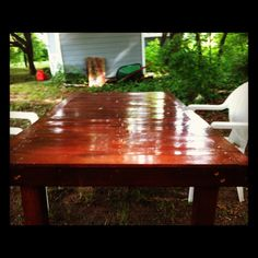 Outdoor dining table, made out of a cedar swing set. #woodworking #diy #repurposed