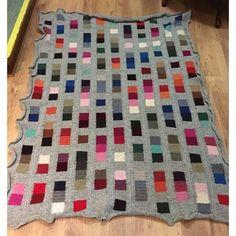 Finished file!   Only washing and blocking left!   Thanks for the pattern!   @lisefranck #coloursandsquares #FiltenmedstortF #blanket #filt # plaid #crochet #virka # Vrigstadssticke17