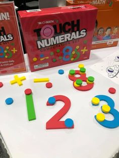 These delightful foam numerals represent the quintessential musisensory manip. Numbers Preschool, Math Numbers, Preschool Math, Math Classroom, Kindergarten Math, Fun Math, Teaching Math, Math Activities, Touch Point Math