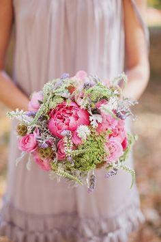 pink & green wedding theme bouquet