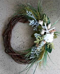 nautical wreath | Beachy Wreath Classic Coastal Hues by BeachyWreaths on Etsy