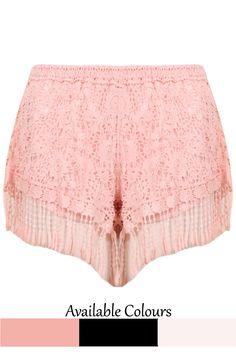 Crochet Fringe Lined Shorts - 3 Colours Available - Babez London