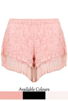 Crochet Fringe Lined Shorts - 3 Colours Available - Babez London