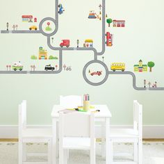 The Road and Cars Nursery Kids Wall Stickers For Boys(M) Boys Wall Stickers, Kids Room Wall Decals, Removable Wall Stickers, Boys Room Wallpaper, Wallpaper Uk, White Kids Room, Car Nursery, Kids Decor, Toddler Fun