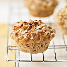 Tropical Muffins with Coconut-Macadamia Topping | MyRecipes.com 200 calories
