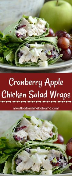 Cranberry Apple Chicken Salad Wraps - A fast, easy dinner or lunch of chicken, apples and dried cranberries with a light creamy dressing wrapped in spinach or veggie tortillas. Can use leftover turkey from Thanksgiving too! Perfect to make ahead and pack in the lunchbox! from meatloaf and melodrama #leftovers #chicken #turkey #thanksgiving