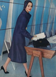 Roger Prigent for September Vogue 1957.Blue