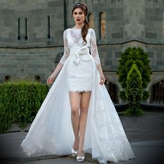 Find a Romantic Lace Wedding Dress With Detachable Train V Back 3/4 Sleeve High Low Wedding Dresses Wedding Gowns Bridal Dresses Online Shop For U !