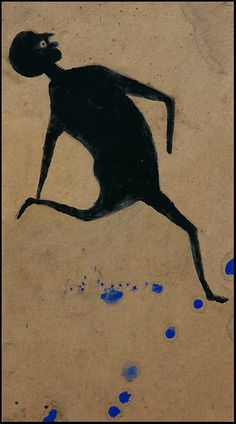 Untitled (Dancing Man), by American self-taught artist Bill Traylor Opaque watercolor and graphite on cardboard, 13 x in. via foundation for Self Taught Artists How To Make Drawing, Art Brut, Art Corner, Naive Art, Visionary Art, Outsider Art, Drawing People, Oeuvre D'art, Les Oeuvres