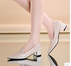 Women new Fashion spring summer pointed toe vintage solid color patent leather 4cm thick heels pumps shoes plus size 40-43