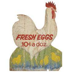 Fresh Eggs Vintage Folk Art Hand-Painted Wood Sign