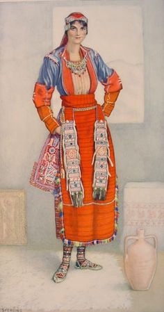 NICOLAS SPERLING Peasant Woman's Dress (Macedonia, Baltza) 1930 lithograph on paper after original watercolour Greek Traditional Dress, Traditional Outfits, Macedonia, Greek Dancing, Costumes Around The World, Greek Culture, Costume Collection, Ethnic Dress, Thinking Day