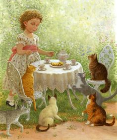 ART~ Tea Time For Hungry Cats~ by Susan Wheeler