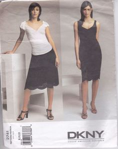 Vogue Sewing Pattern Donna Karan DKNY Dress Top Skirt Sizes 8 10 12 Uncut 2741 #VoguePatternsDKNY