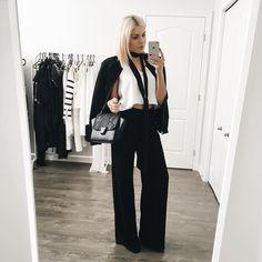 Emily Luciano no Instagram - look preto e braco elegante , com pantalona