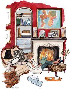 Image via We Heart It https://weheartit.com/entry/166245486 #comfort #dog #girl #illustration #pug #reading