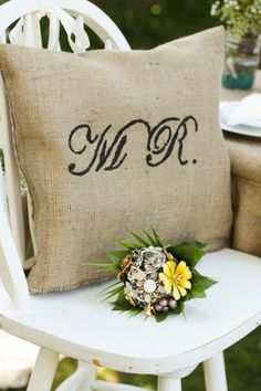 Mr and Mrs pillows. DIY.
