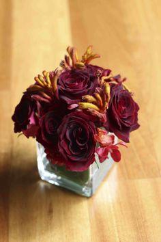 Deep red roses with yellow kangaroo's paw. $30.00