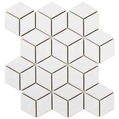 Merola Tile Metro Rhombus Glossy White 10-1/2 in. x 12-1/8 in. x 5 mm Porcelain Mosaic Tile-FMTRHOGW - The Home Depot