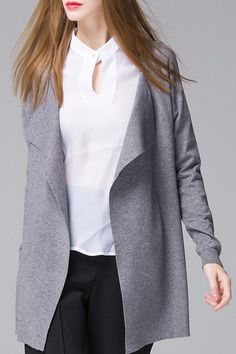 Solid Color Loose Fitting Long Sleeve Cardigan GRAY: Sweaters | ZAFUL