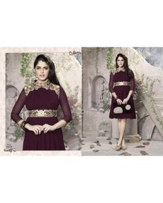 Wine Color Georgette Fabric Kurti