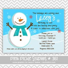 snowman invitation personalized custom by afairytalebeginning