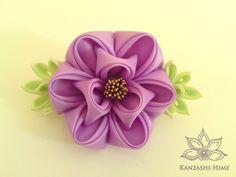 Lilac Peony Barrette Kanzashi by ~Kanzashi-Hime on deviantART
