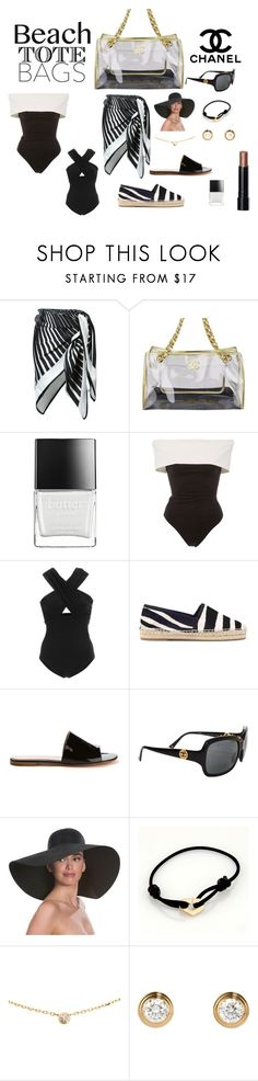 """""""Untitled #1704"""" by pondj ❤ liked on Polyvore featuring Chanel, La Perla, Butter London, Rosetta Getty, Karla Colletto, Gianvito Rossi, Eric Javits, Cartier and Bobbi Brown Cosmetics"""