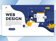 Illustration of Landing page template of Web Design. Modern flat design concept of web page design for website and mobile website. Easy to edit and customize. Vector illustration vector art, clipart and stock vectors. Web And App Design, Minimal Web Design, Web Design Trends, Design Websites, Web Flat Design, Design Ios, Modern Web Design, Web Design Tips, Infographics Design