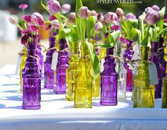 Dekoracje kwiatowe z butelkami z recyklingu / Kwiaty zrob to sam /recycled bottle centerpieces