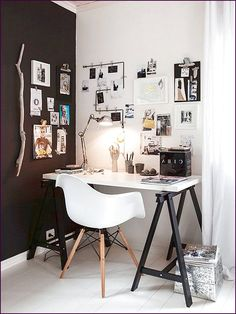 Modern Home Office Desk House Black and White Ideas