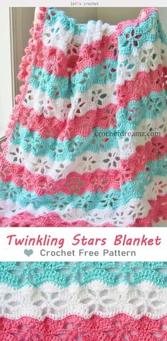 Twinkling stars blanket crochet free pattern free crochet afghan pattern with a beautiful texture Crochet Afghans, Crochet Blanket Patterns, Baby Blanket Crochet, Crochet Stitches, Knitting Patterns, Knit Crochet, Crotchet, Crochet Baby Blankets, Free Baby Crochet Patterns