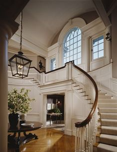 New Home with gorgeous foyer and beautiful windows ~ Interior Design: Sandra Nunnerley, A Riverside Estate curved staircase w landing Curved Staircase, Grand Staircase, Staircase Design, White Staircase, Entry Stairs, Staircase Ideas, Entry Foyer, Luxury Staircase, Staircase Runner