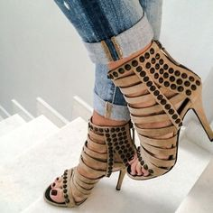 9b05a0c8b9 Suede Rivets Straps Open Toe Stiletto High Heels Sandals on Luulla